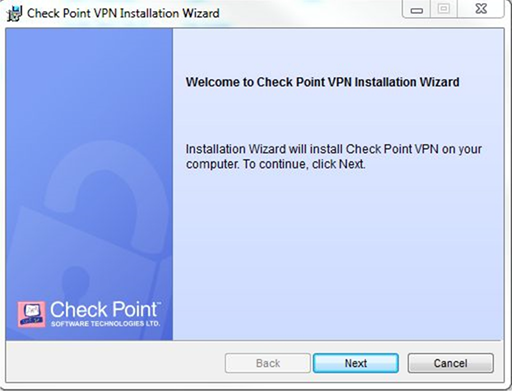 VPN Installation Windows Step One screen