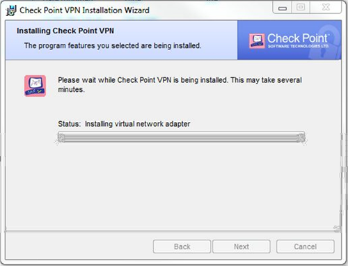 VPN Installation Windows Progress Screen