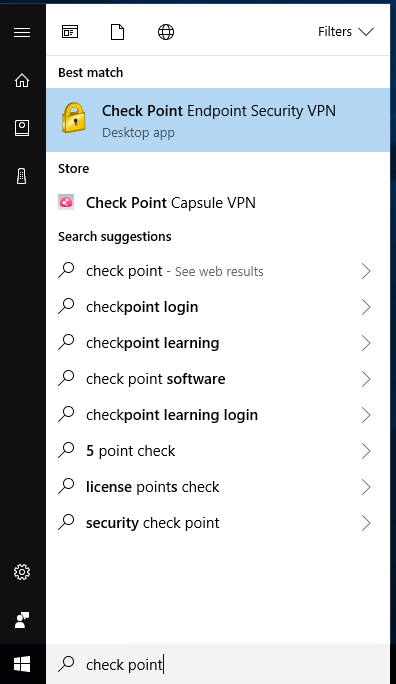Find Check Point VPN icon screen shot Windows 10